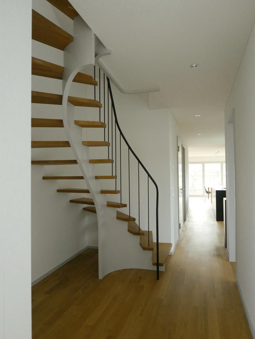 Interne Treppe - Sicht zur Birs © Grieder Jaquet Jeltsch Architekten, Dornacherstr. 101, ch-4053 Basel