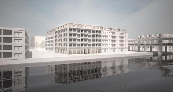 Aussenvisualisierung; Blick vom Hafenbecken zum Gebäude © Damian Gysi