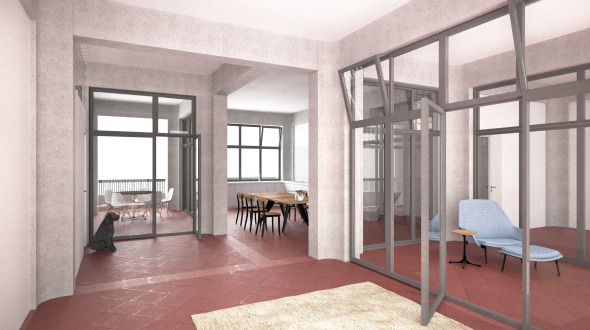 Innenvisualisierung; Blick vom Wohnen in Richtung Essen/Küche © Damian Gysi