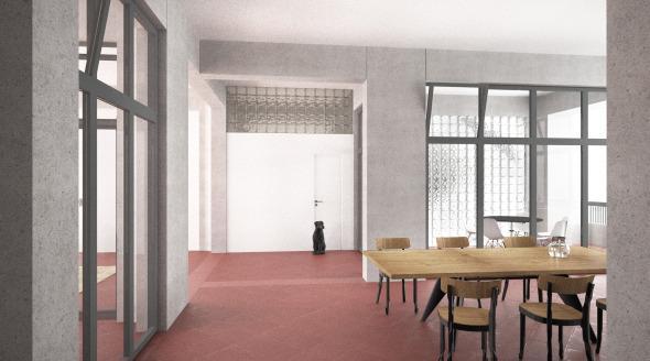 Innenvisualisierung; Blick vom Vorbereich der Zimmer in Richtung Essen/Eingang/Wohnen © Damian Gysi