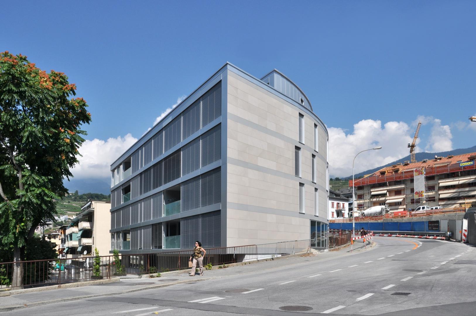 Vue extérieure, angle sud-est © Savioz & Di Berardino architectes