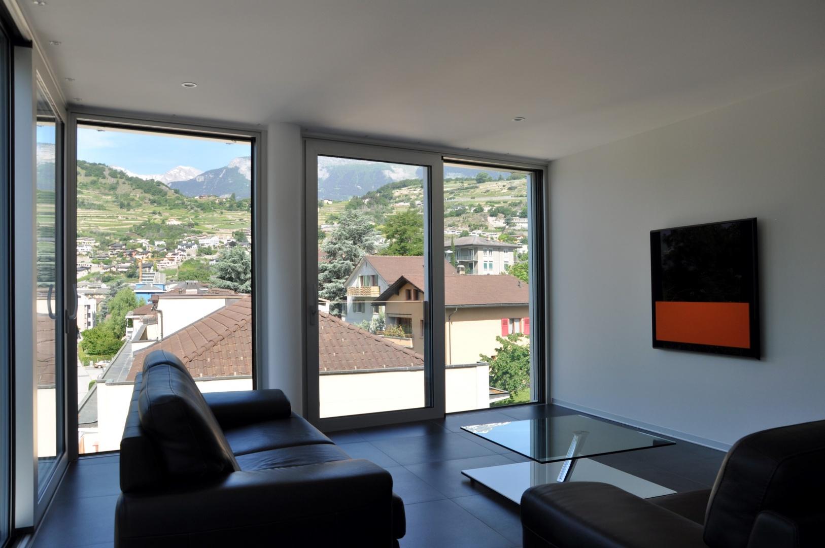 Vue intérieure 2 appartement © Savioz & Di Berardino architectes