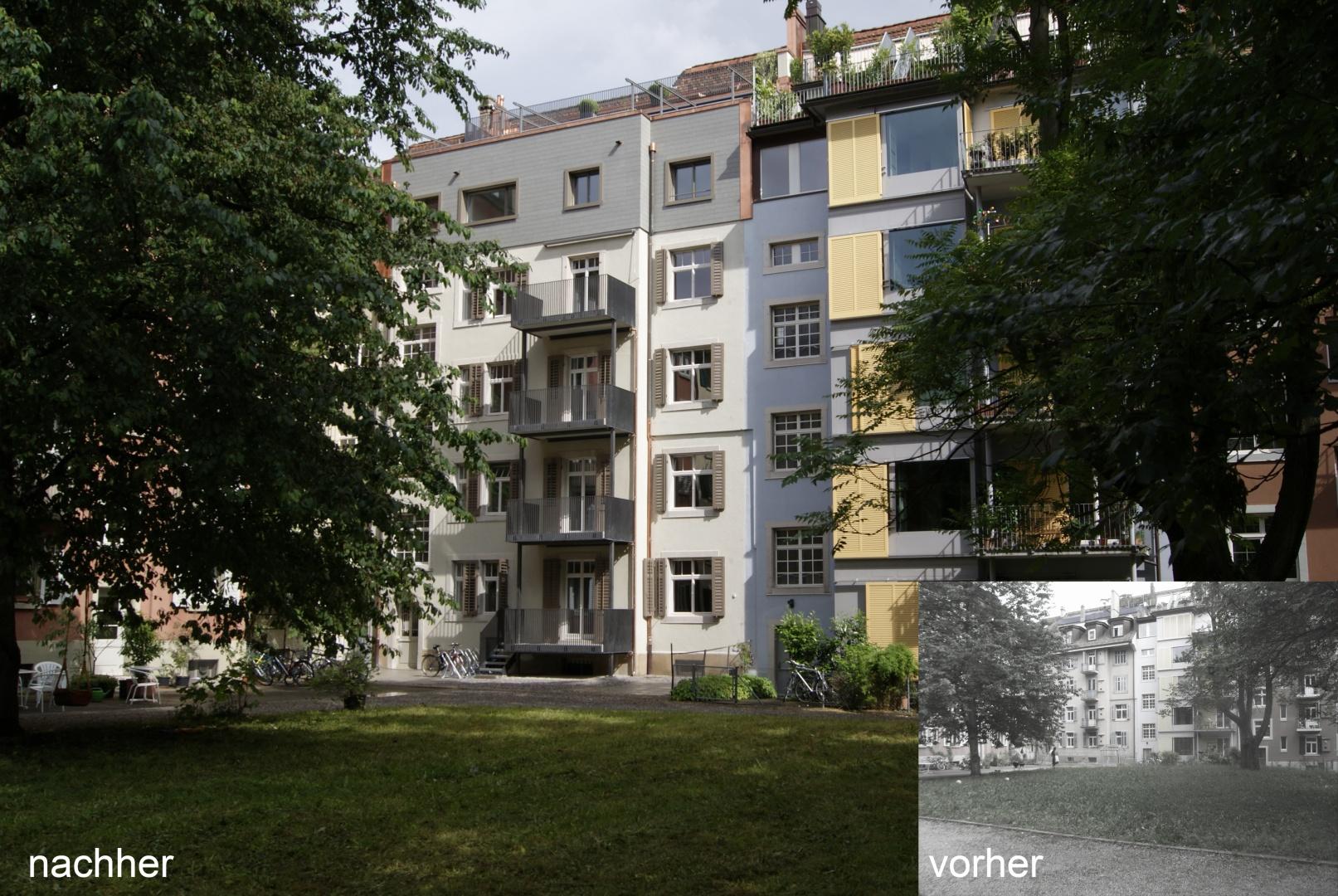 Hoffassade Vorher Nachher © Staffelbach Meier Architekten