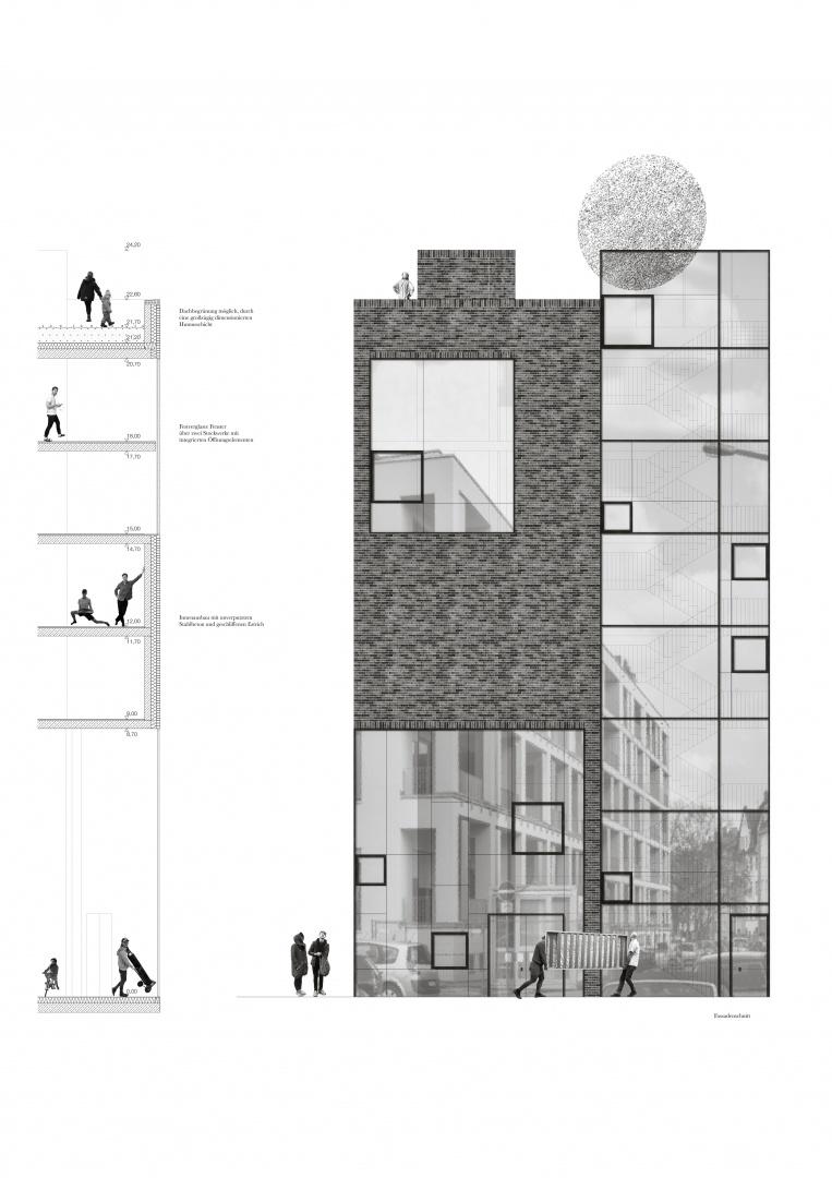 Fassadenschnitt © Matthias Pabst / Cleo Gelke