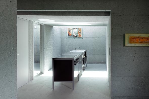 Vue rez inférieur sur cuisine © Thomas Jantscher