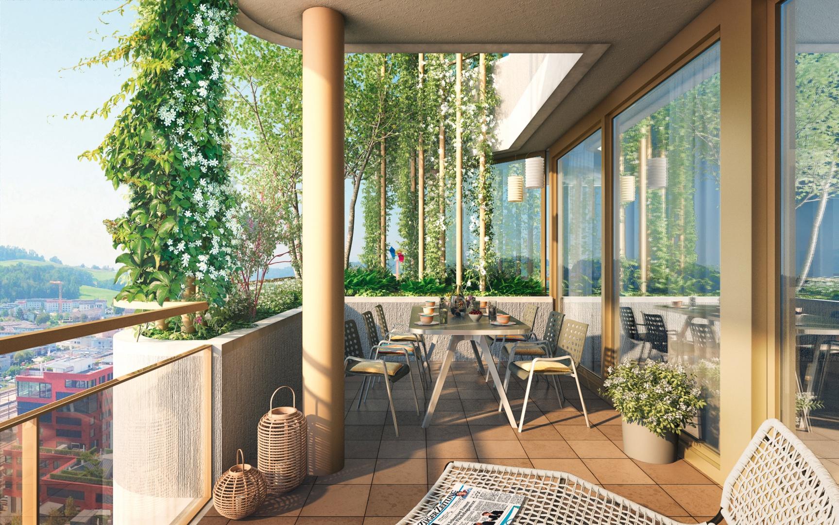 Balkonbegrünung Sommer © Raumgleiter GmbH, Pfingstweidstrasse 106, 8005 Zürich