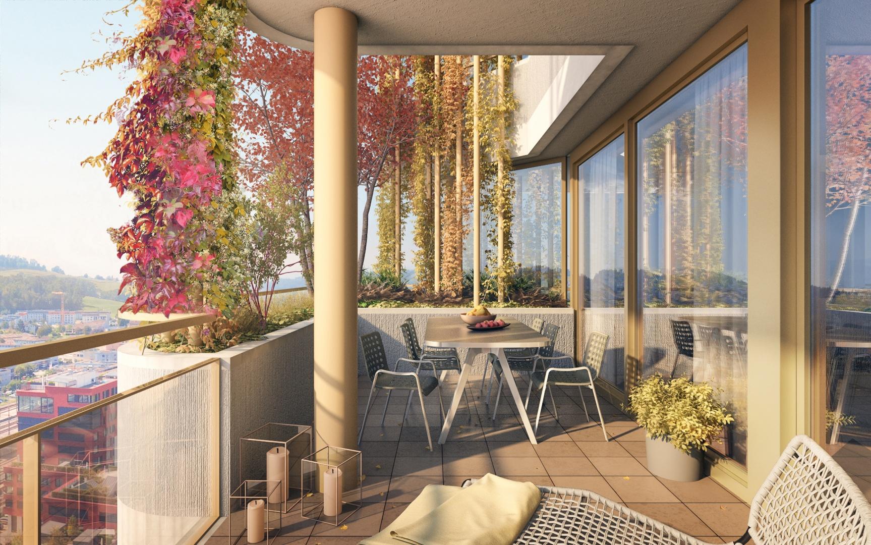 Balkonbegrünung Herbst © Raumgleiter GmbH, Pfingstweidstrasse 106, 8005 Zürich