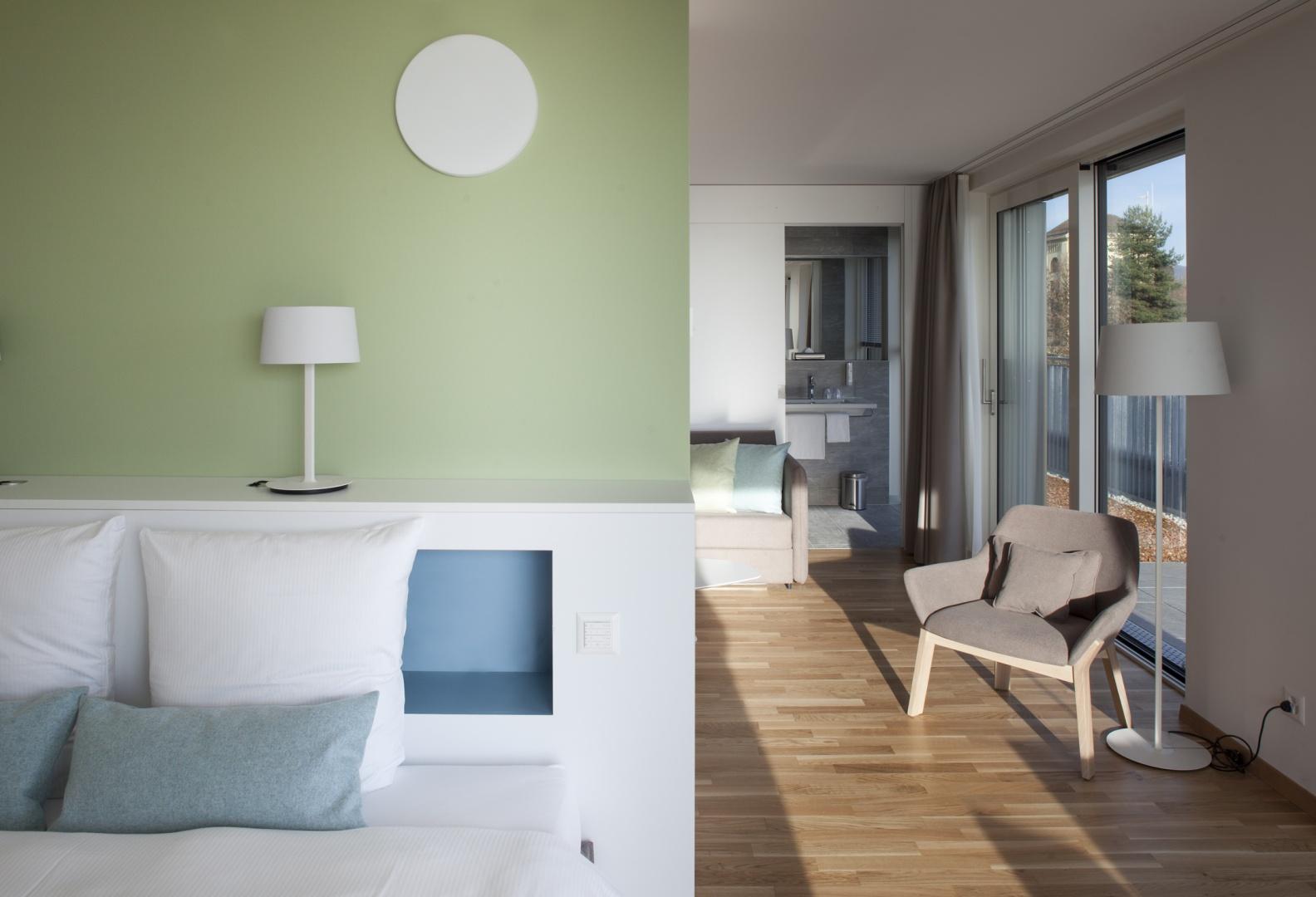 Hôtel des patients, chambre © Brauen Wälchli Architectes, Marc Schellenberg