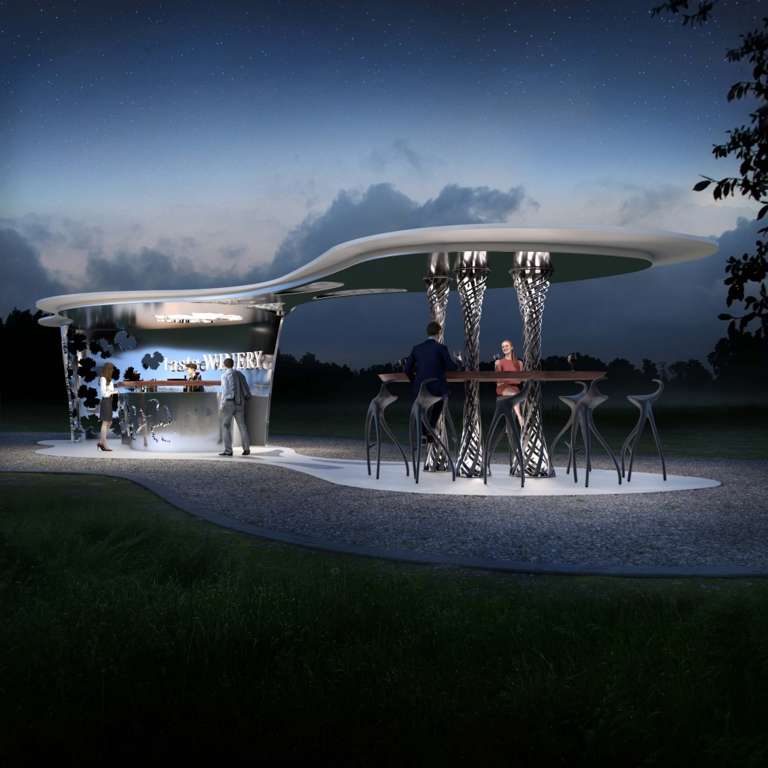 Bodega Haven - Kiosk Bar at night © Peter Stasek Architects - Corporate Architecture, Werderstr. 40, 68165 Mannheim