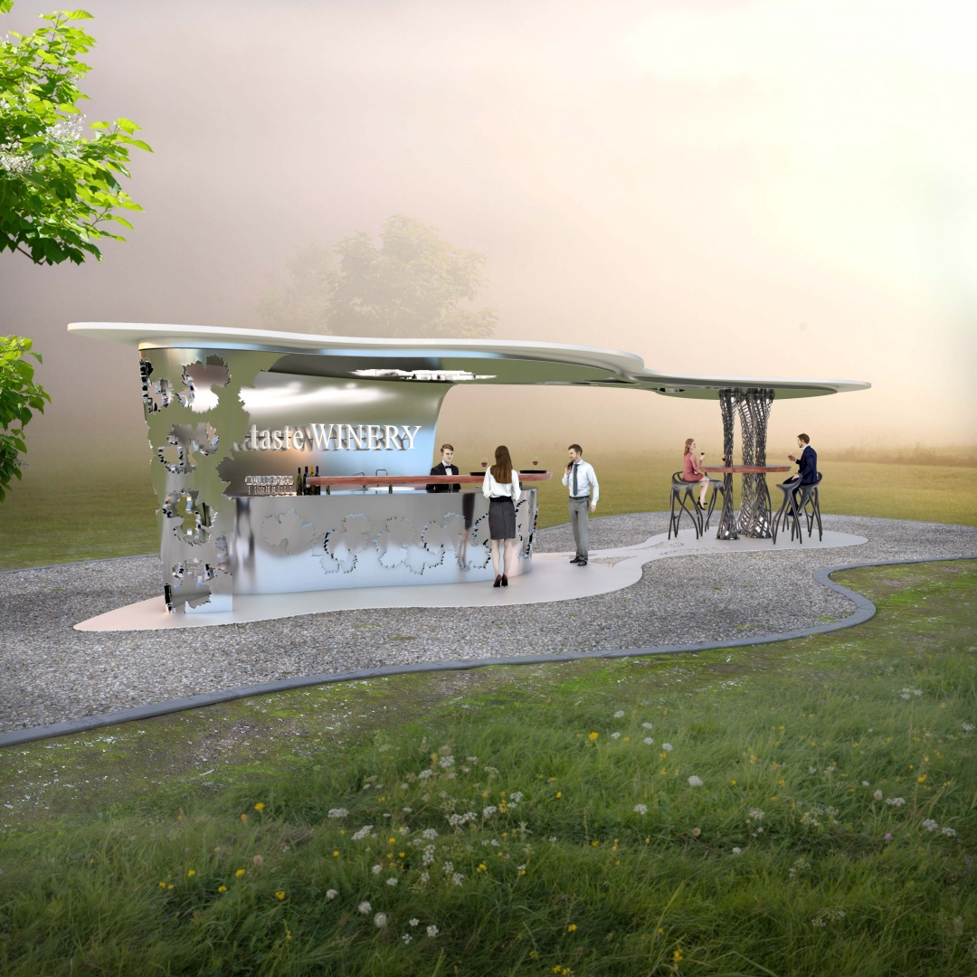 Bodega Haven - Kiosk Bar at day © Peter Stasek Architects - Corporate Architecture, Werderstr. 40, 68165 Mannheim