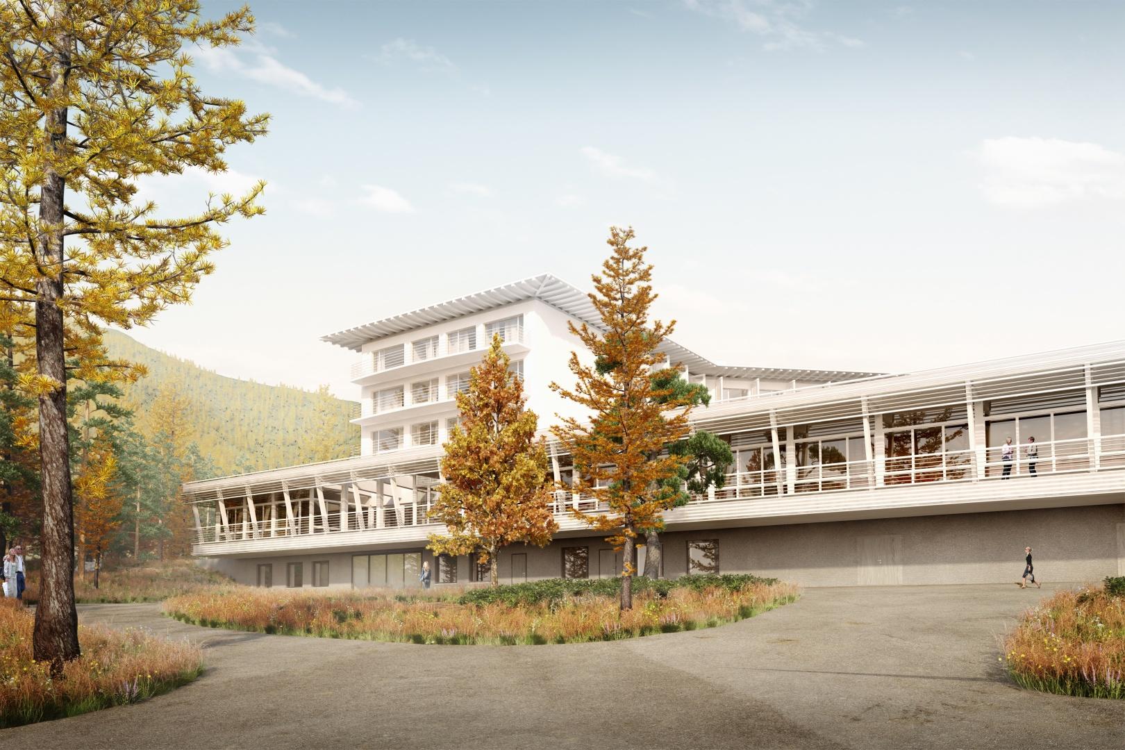 HGK Gastronomie und Eingangsgebäude – Visualisierung © Space Communication GmbH