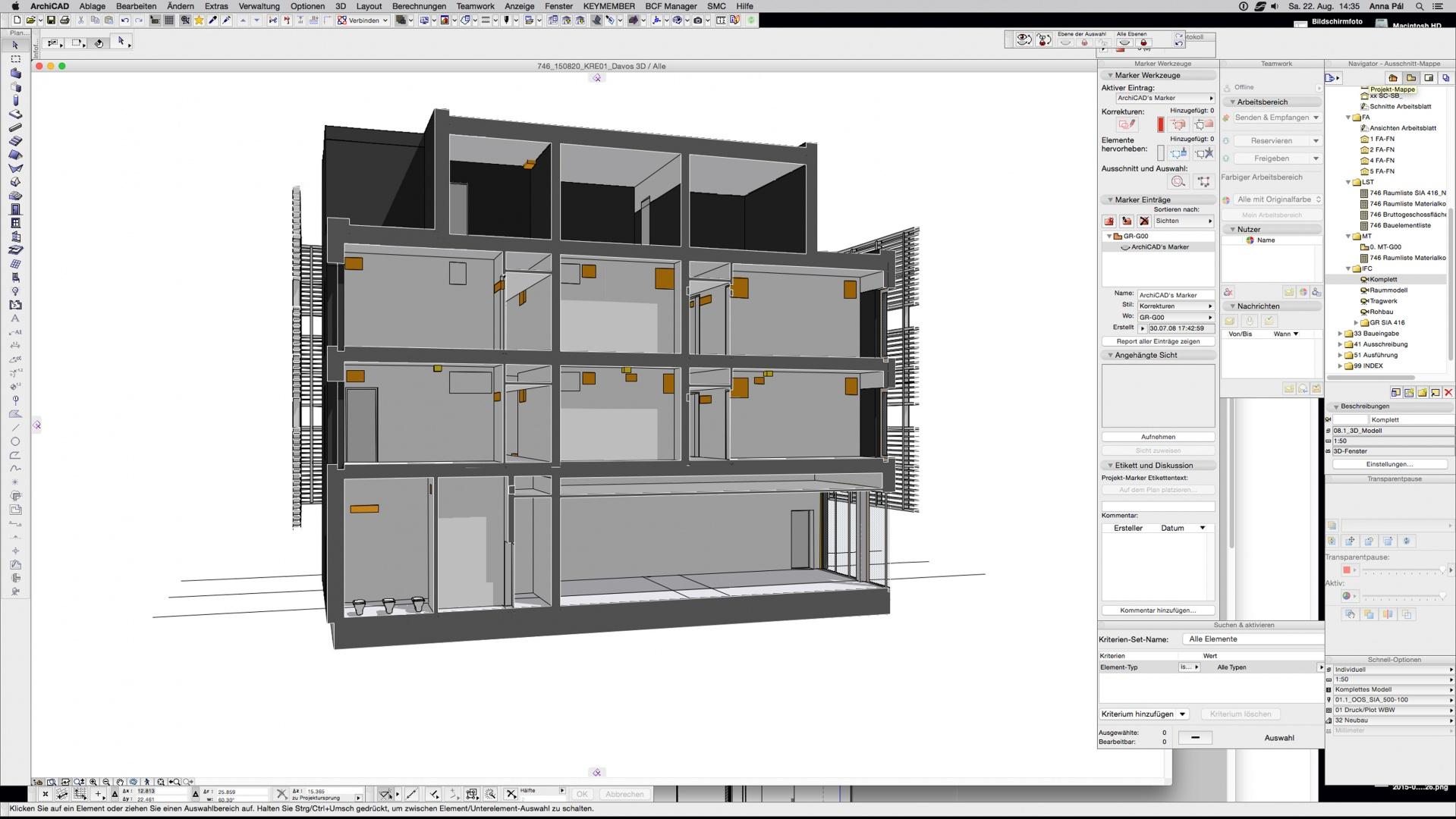Architekturmodell mit Aussparungskörpern © OOS AG