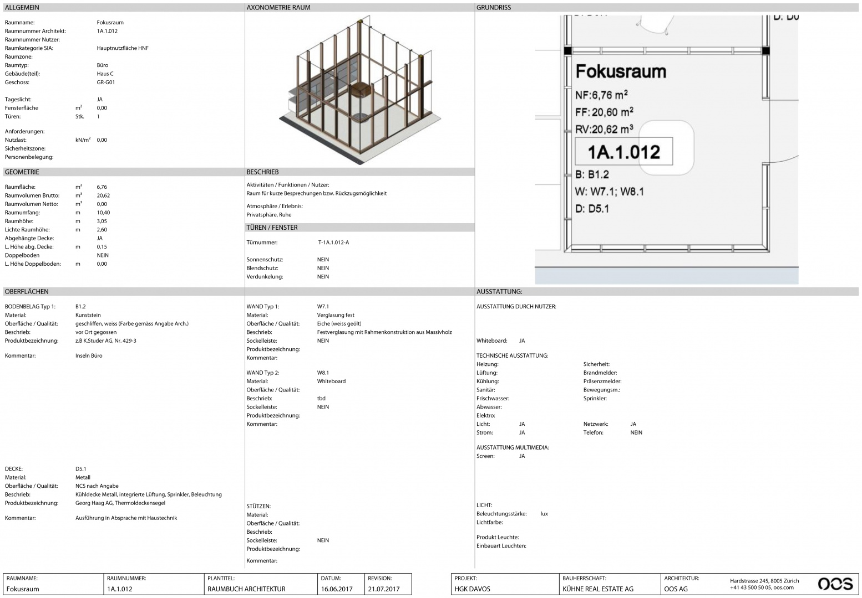 Raumbuchseite: direkter gelayouteter Export aus BuildingOne © OOS AG