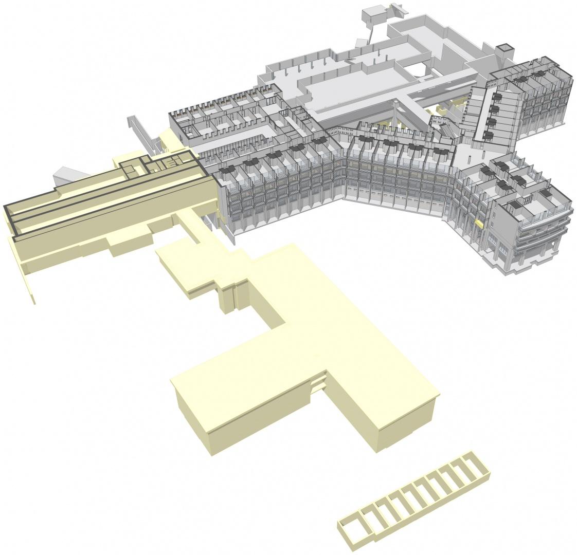Das Bestandsmodell der verschiedenen Gebäude in unterschiedlichen Ausarbeitungstiefen © OOS AG