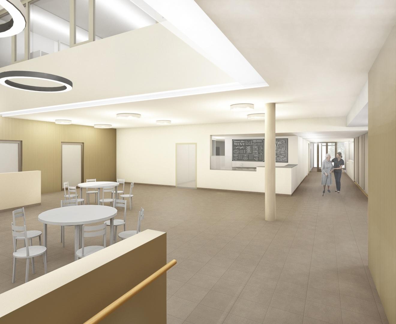 Oberried Zugang Cafeteria © matti ragaz hitz architekten ag
