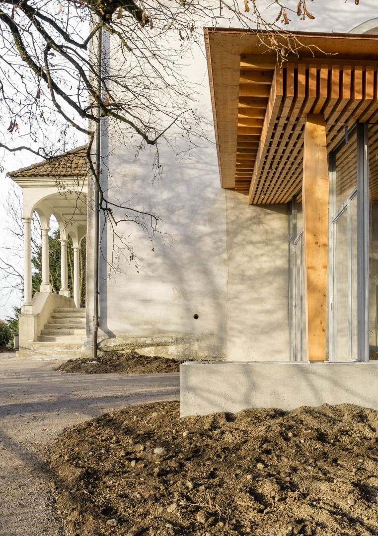 Foyer Künstlerhaus Boswil, mit Haupteingang © Gian Salis Architektur GmbH