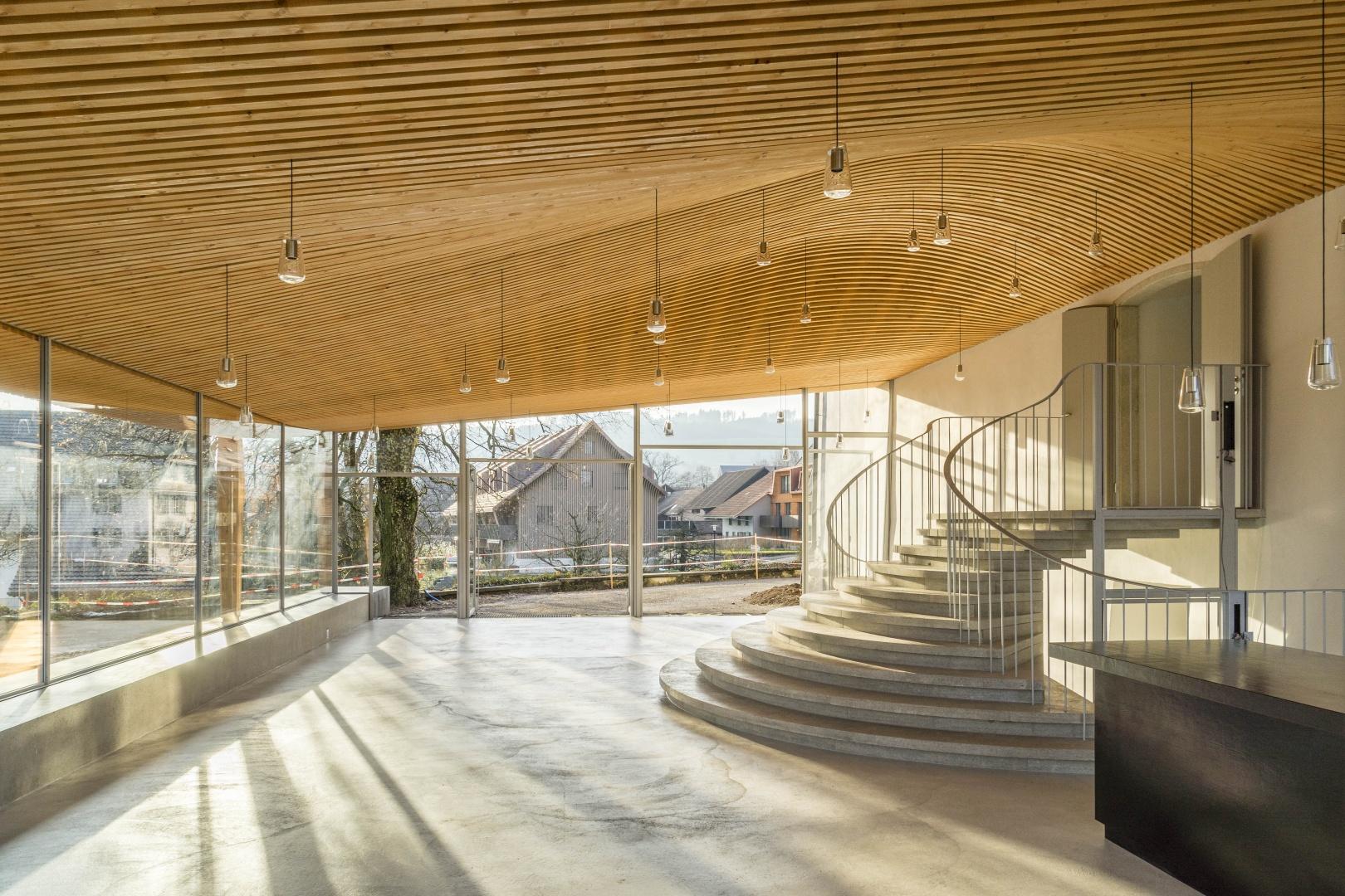 Foyer Künstlerhaus Boswil, Innenraum © Gian Salis Architektur GmbH