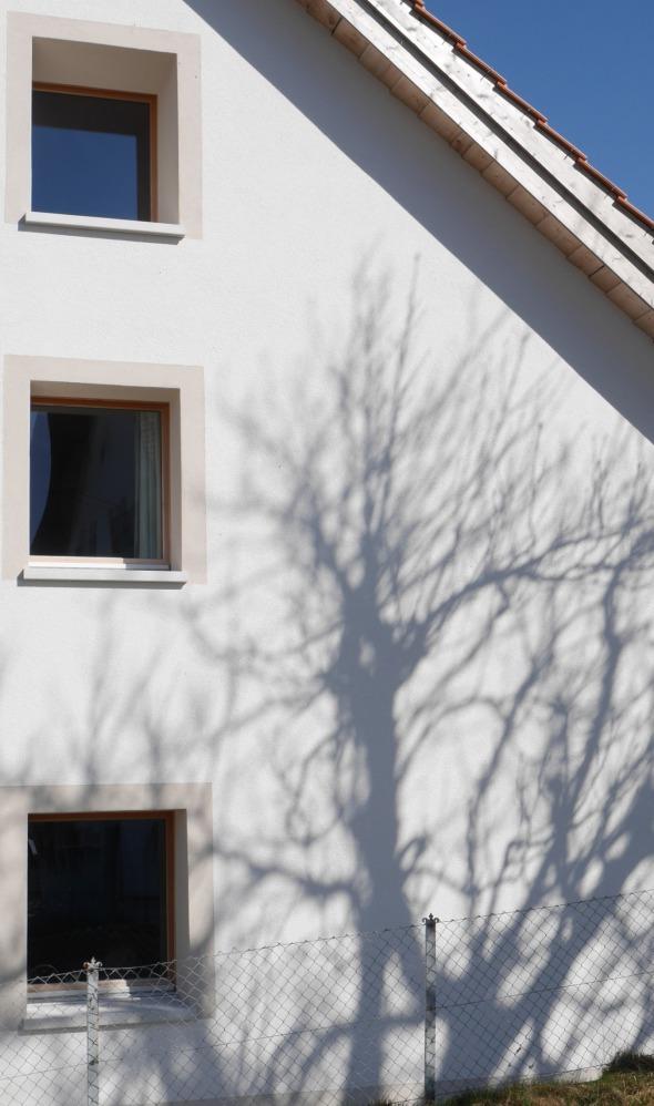 Façade/ isolation extérieure, murs crépi blanc fin, fenêtres en mélèze. © j & m steinfels architectes
