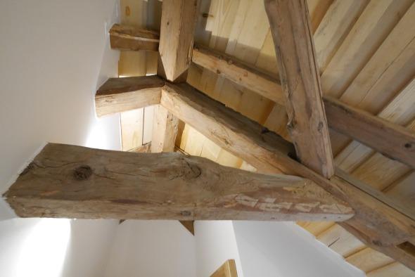 détail charpente 2ème étage/ planches sapin finition naturelle © j & m steinfels architectes