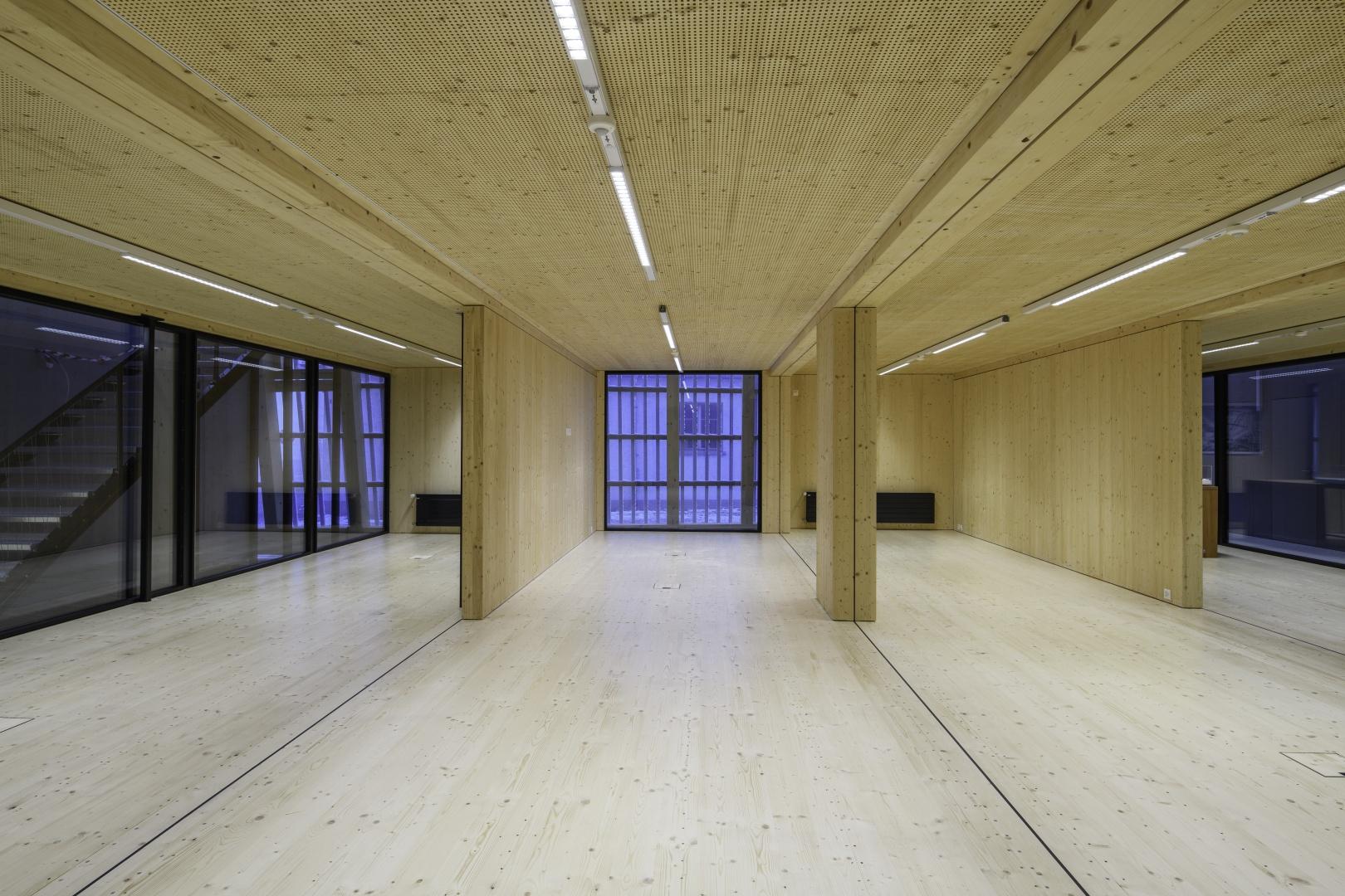 Innenraum EG, Module von innen © Blumer-Lehmann AG, Erlenhof, CH-9200 Gossau