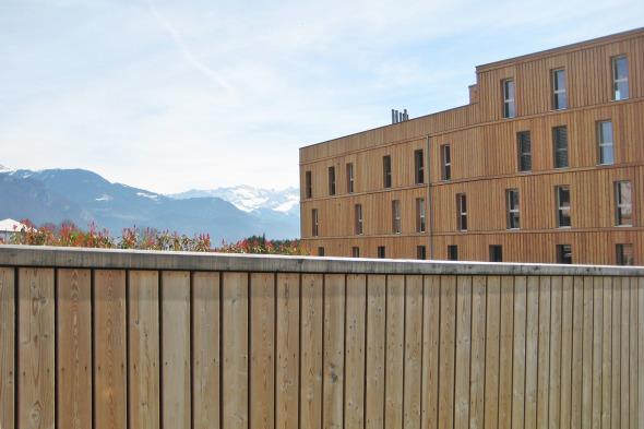 Enveloppe de l'ensemble des bâtiments et parking en lames de mélèze naturel traitées © Voltolini architectures Sarl