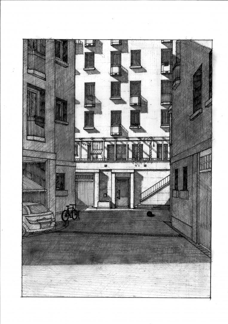 Zeichnung Platz / Hof © Manuele Pinelli