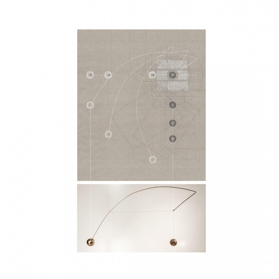 Rotation aller Elemente, Mobile, Leuchte, Gebäudevolumen I  Mobile, Innen- und Außenbereich, Augenhöhe, Horizont © Barbara Ruech