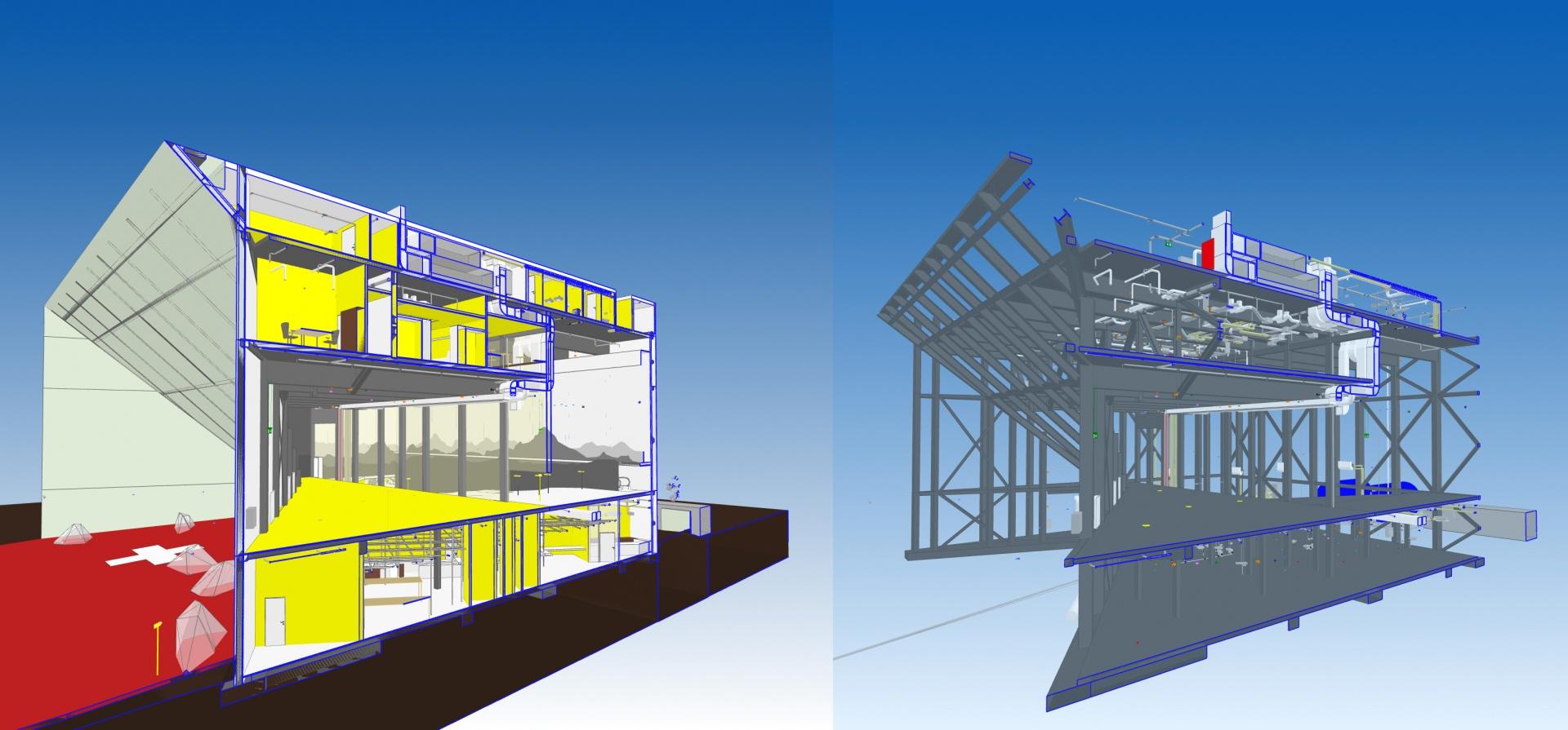 Koordinationsmodell Schnittmodell gesamt / Tragwerk und Haustechnik © OOS AG