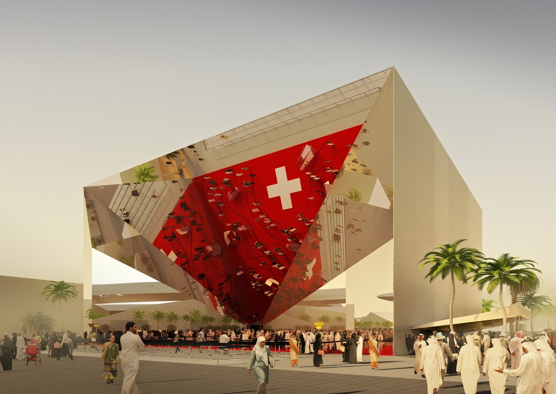 Schweizer Pavillon EXPO 2020 Dubai Visualisierung © space communication, Zürich