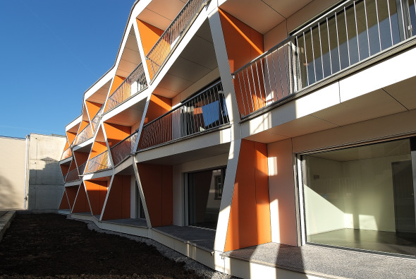 Fassadenansicht Pilotprojekt Hafenstrasse 7, Kreuzlingen © adan&partner architektur