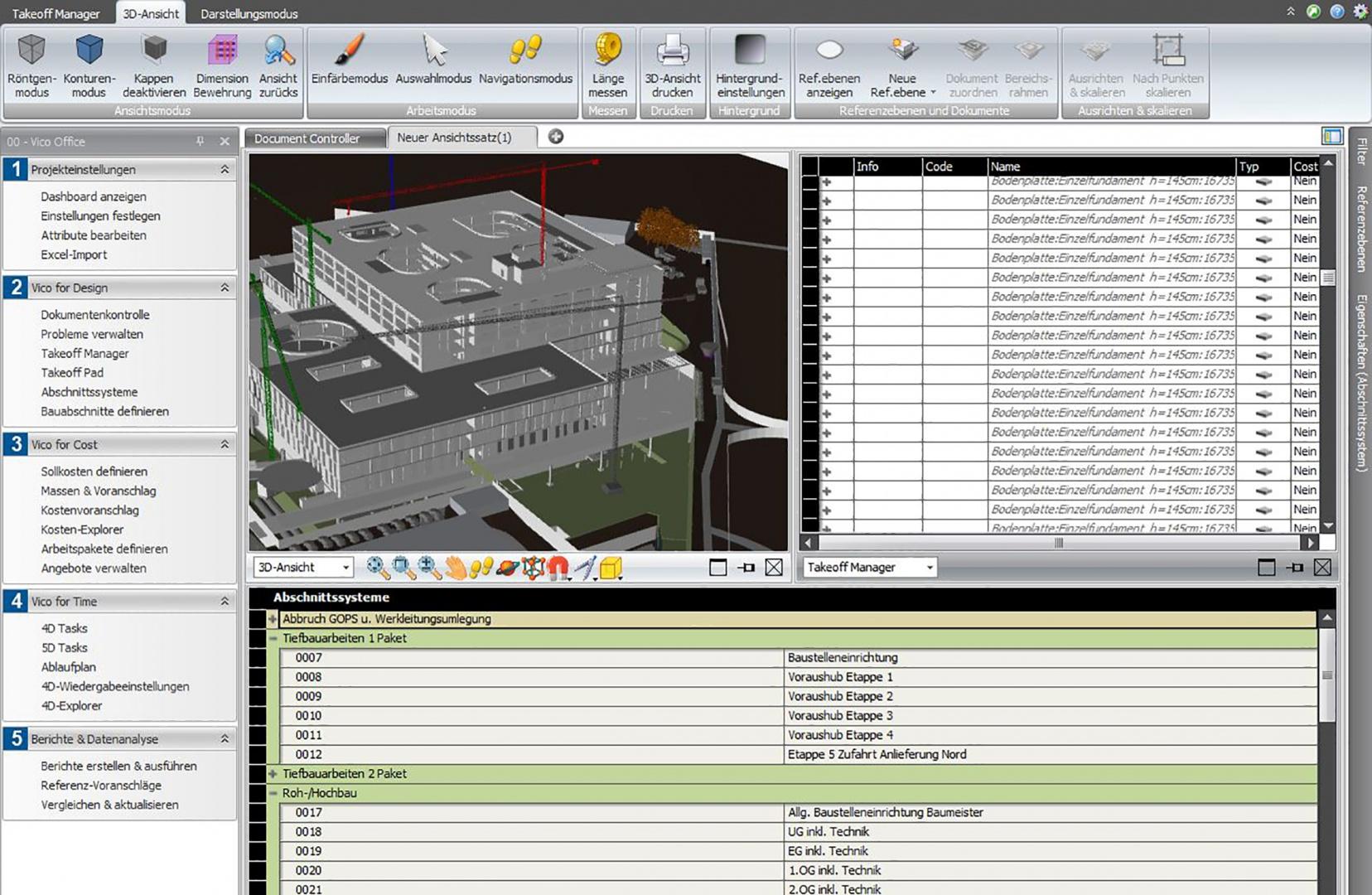 Vico Office Terminablaufplanung  - Bauabschnitte © Confirm AG