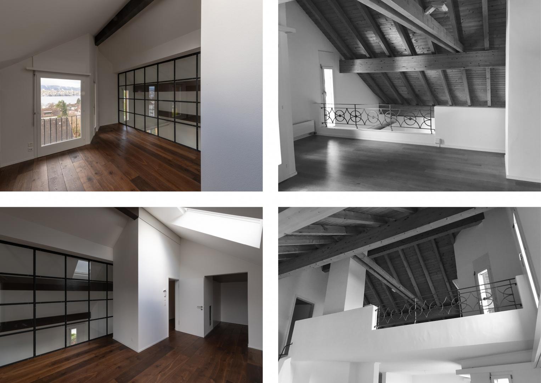 Elternschlafzimmer im Dachgeschoss - Vorher - Nachher  © Raumtakt GmbH, Grubenstrasse 25, CH-8045 Zürich