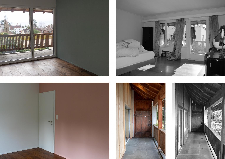 Gästezimmer / Büro und Fassade Süd im Obergeschoss - Vorher - Nachher  © Raumtakt GmbH, Grubenstrasse 25, CH-8045 Zürich