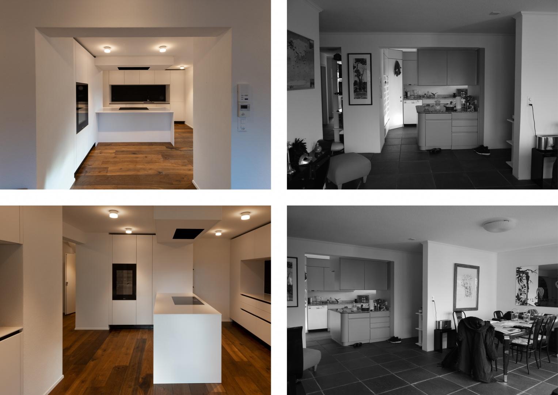 Küche im Obergeschoss - Vorher - Nachher  © Raumtakt GmbH, Grubenstrasse 25, CH-8045 Zürich