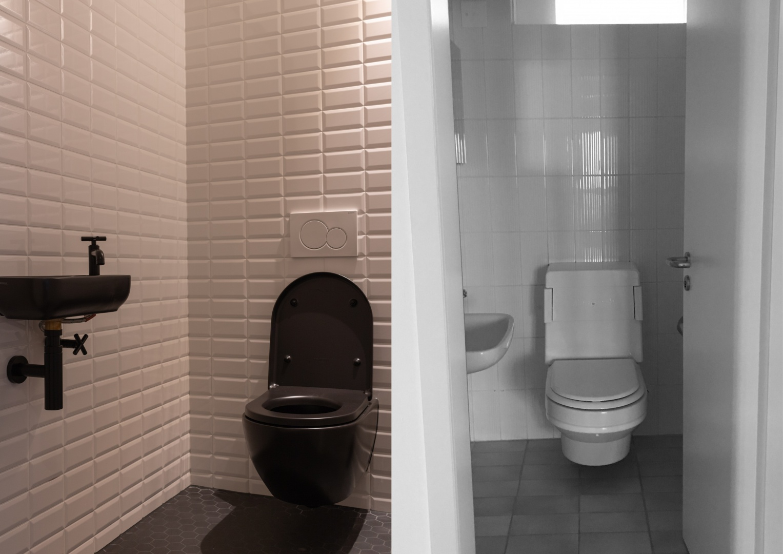 WC im Obergeschoss - Vorher - Nachher  © Raumtakt GmbH, Grubenstrasse 25, CH-8045 Zürich