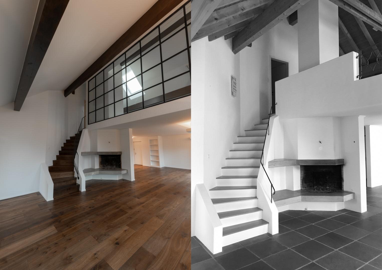 Wohnbereich im Obergeschoss - Vorher - Nachher  © Raumtakt GmbH, Grubenstrasse 25, CH-8045 Zürich