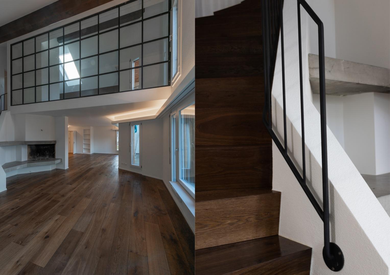 Glastrennwand im Obergeschoss © Raumtakt GmbH, Grubenstrasse 25, CH-8045 Zürich