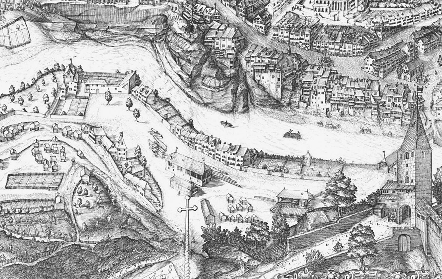 Dieser Stich von Martin Martini ist ein Auszug aus einer Karte der Stadt Freiburg aus dem Jahre 1606. © Werkhof
