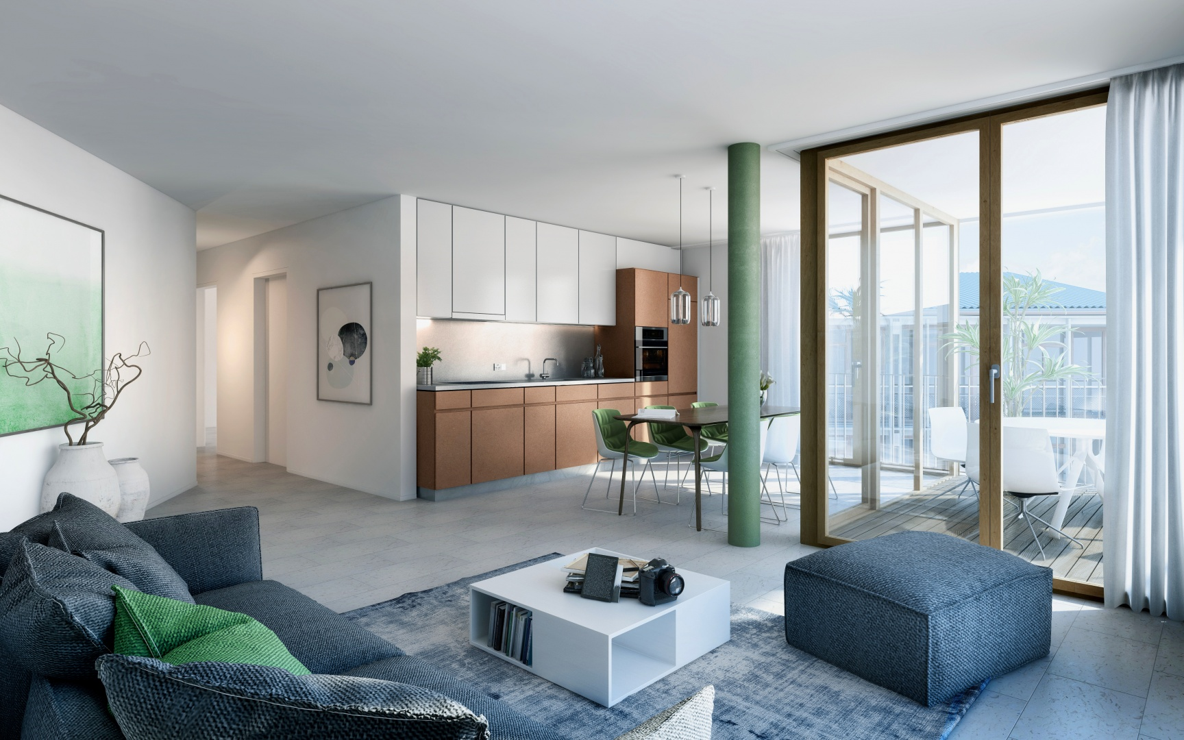 Vue sur le salon d'un appartement 3 pièces sur la Hebelstrasse. Cuisine, coin repas et salon s'articulent  autour d'une vaste loggia donnant côté jardin. © Esch Sintzel