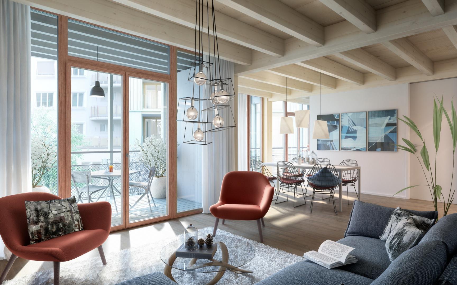 Vue sur le salon d'un appartement  4 pièces sur la Maiengasse avec façade vitrée et vaste espace détente donnant côté jardin. © Esch Sintzel