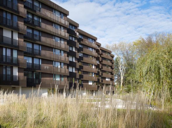 Gebäude, Weiher und umgebene Vegetation verbinden sich zu einer Einheit © Foto: Ruedi Walti, Basel
