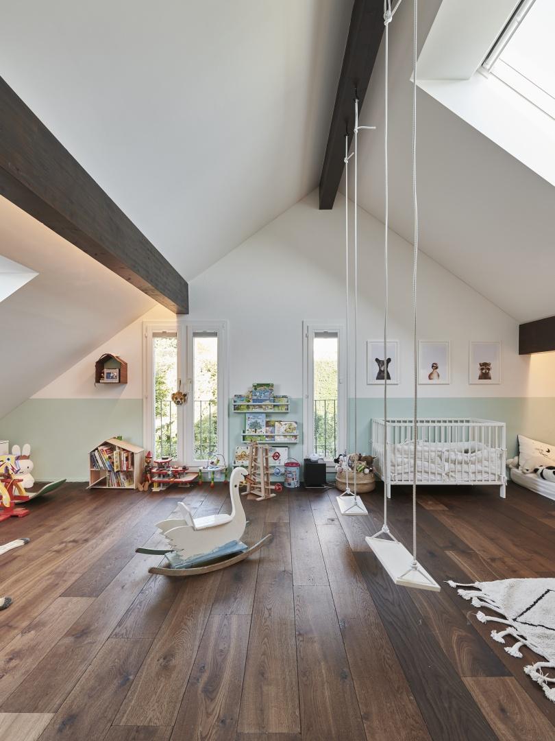 Kinderzimmer im Dachgeschoss © Gataric Fotografie, Flüelastrasse 10, 8048 Zürich