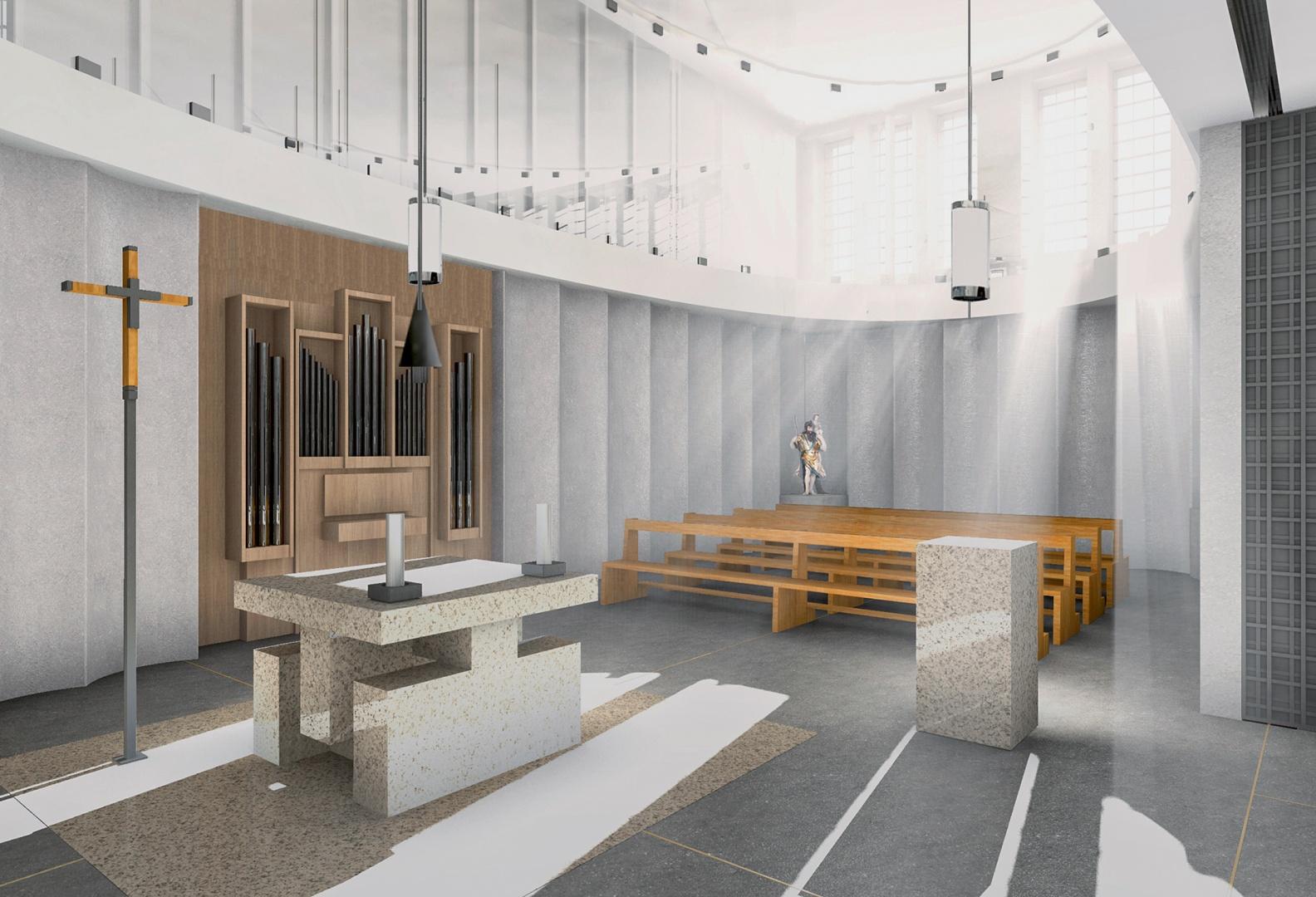 Blick in die Werktagskapelle,  die oval geformt ist. Der Altar besteht aus Jura-Kalkstein-Elementen eines ehemaligen Lettners. Das Licht für die Kapelle wird auf der Ost- bzw. Westseite eingefangen und  über Oberlichtfenster ins  Innere gestreut.  © Lorenz Architekten
