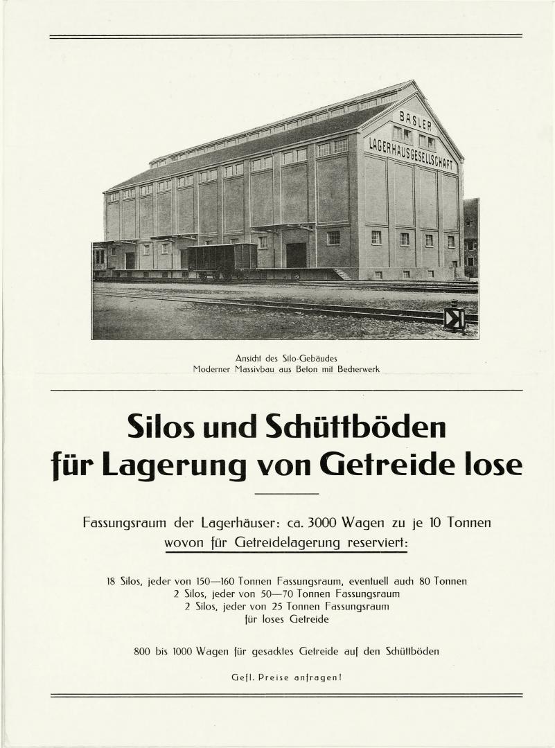 Aufnahme Silogebäude zu Beginn des 20. Jahrhunderts mit der ursprünglich geschlossenen Fassade.  © Originalprospekt der Basler Lagerhausgesellschaft