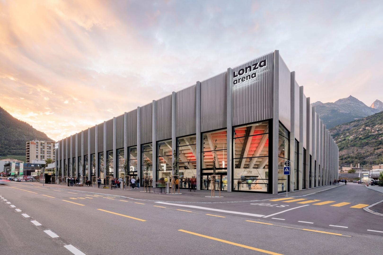 Aussenansicht, Lonza Arena © Scheitlin Syfrig Architekten, Fotograf Simon von Gunten