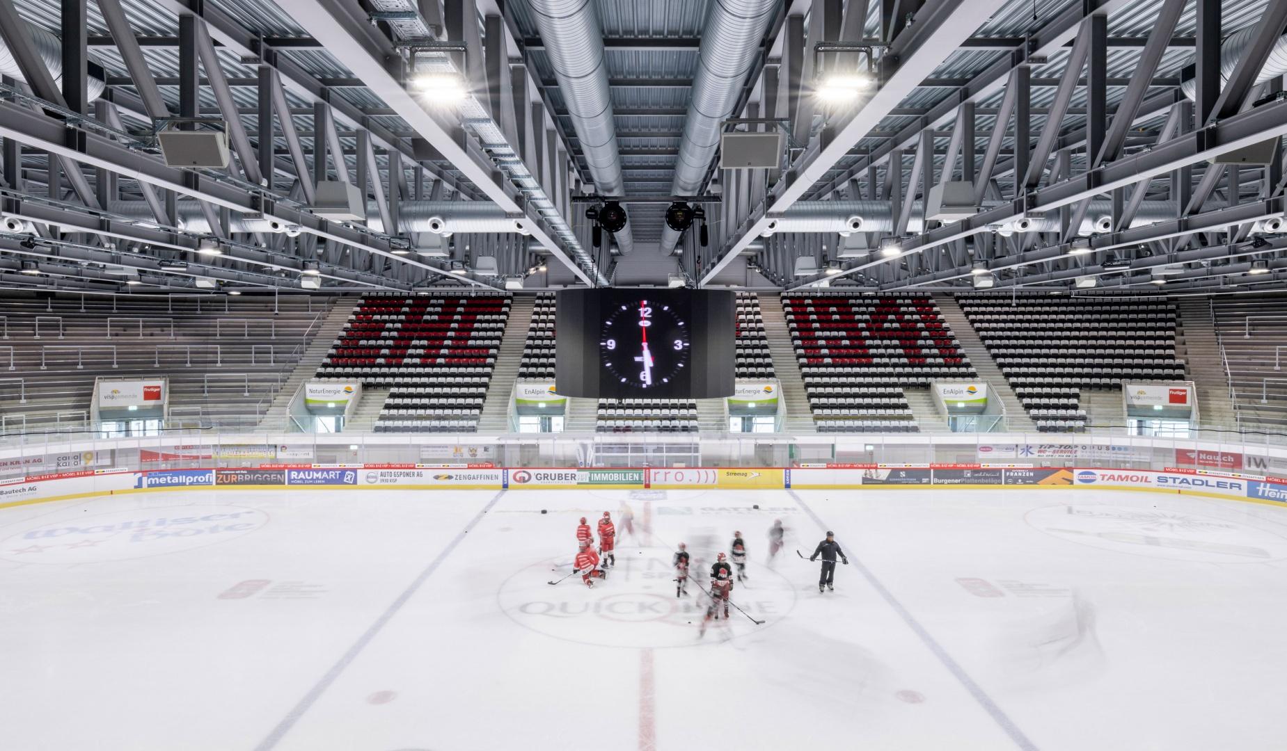 Eisfeld, Lonza Arena © Scheitlin Syfrig Architekten, Fotograf Simon von Gunten