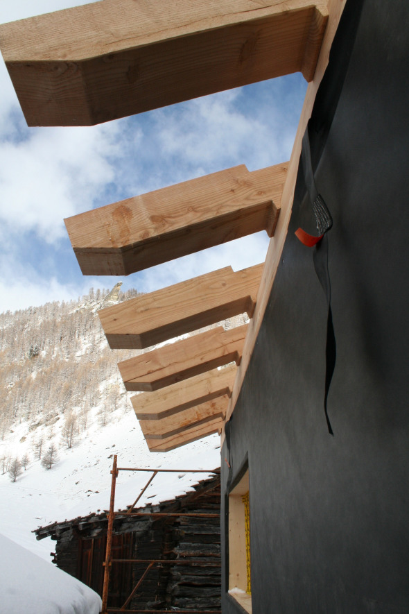 Photo chantier - détail charpente © Galletti & Matter architectes