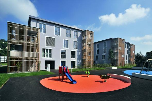 Gesamtansicht Aussenareal / Spielplatz © Büchel Neubig Architekten