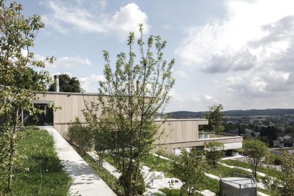 Der durchlaufende Grünraum zwischen den Häusern wird präzise terrassiert und bietet jeder Wohneinheit einen privaten Aussenraum. © C. Luperto