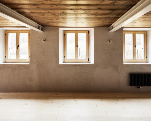 Wohnzimmer mit neuen Trägern  © Roman Keller